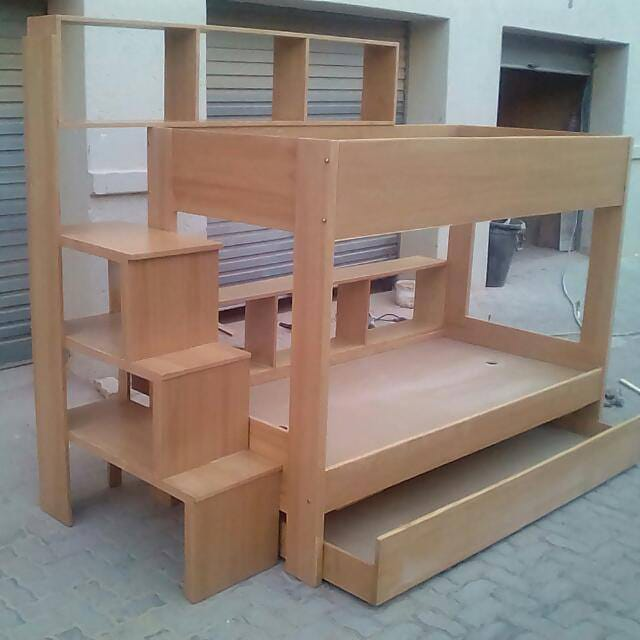 Singles Bunk Bed With A Pull Out Drawer Veneered Wood R500 Lvs Furniture